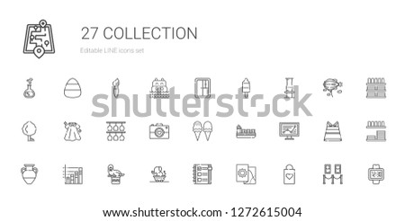 collection icons set. Collection of collection with shopping bag, map, checklist, elephant, walrus, bar chart, vase, line chart, ship. Editable and scalable collection icons.