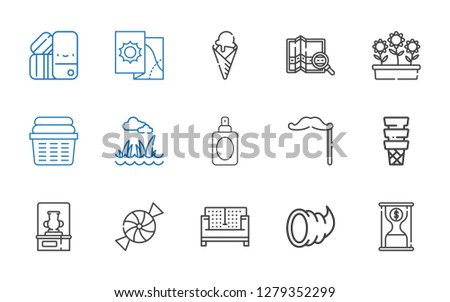 collection icons set. Collection of collection with time is money, cornucopia, sofa, candy, vase, ice cream, mustache, perfume, lawn, laundry. Editable and scalable collection icons.
