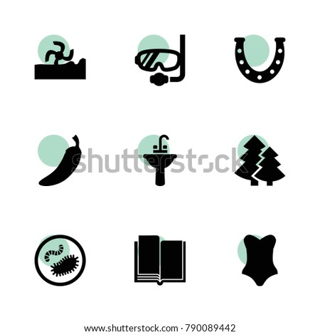 Collection icons. vector collection filled collection icons set.. includes symbols such as harvester, pepper, horseshoe, sink, book. use for web, mobile and ui design.