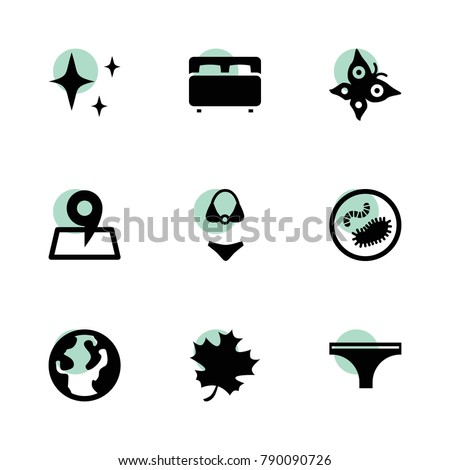 Collection icons. vector collection filled collection icons set.. includes symbols such as acer leaf, shine, woman underwear. use for web, mobile and ui design.