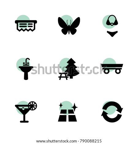 Collection icons. vector collection filled collection icons set.. includes symbols such as trailer, refresh, shine, sink, receipt, swimsuit. use for web, mobile and ui design.