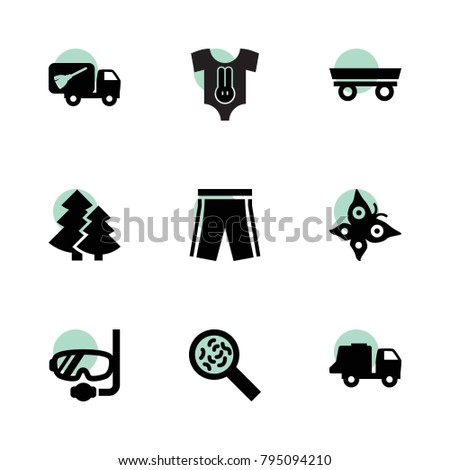Collection icons. vector collection filled collection icons set.. includes symbols such as trailer, garbage truck, baby clothing. use for web, mobile and ui design.