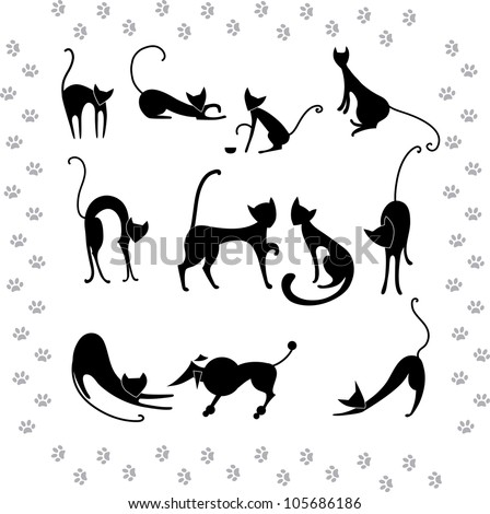 Collection illustrations silhouettes of black cats