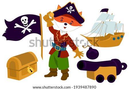 Collection in pirate style for a boy's birthday. The pirate fox has found the treasure in cartoon style. Pirate flag, treasure chest, pirate ship, cannon. Isolate on a white background. Сток-фото ©