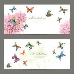 collection invitation cards with butterflies. watercolor painting. vector illustration