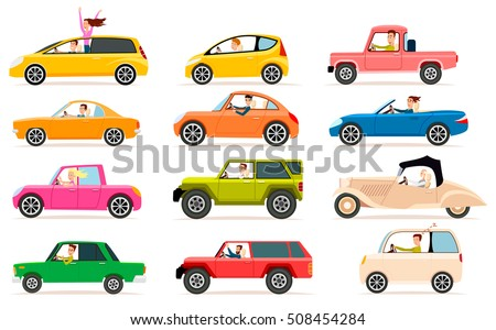 Collection isolated vector icons of vehicles. Private transport illustration types of automobile bodies. Traffic, driver, jeep, pickup, sedan. For learning different cars. Toys, stickers, models