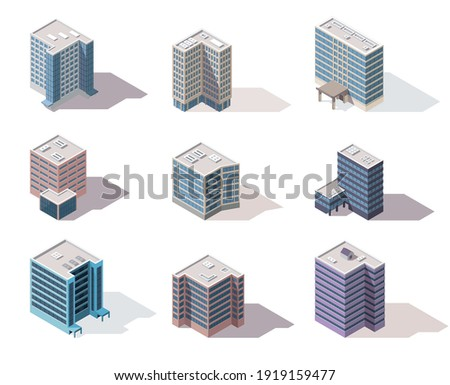 Collection isometric offices. Town apartment building city map creation with street and cars. Architectural vector 3d illustrations. Infographic elements. City house compositions