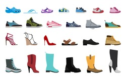 Collection Men's, Women's and children's footwear. Stylish and fashionable shoes, sandals and boots. Flat design vector illustration.