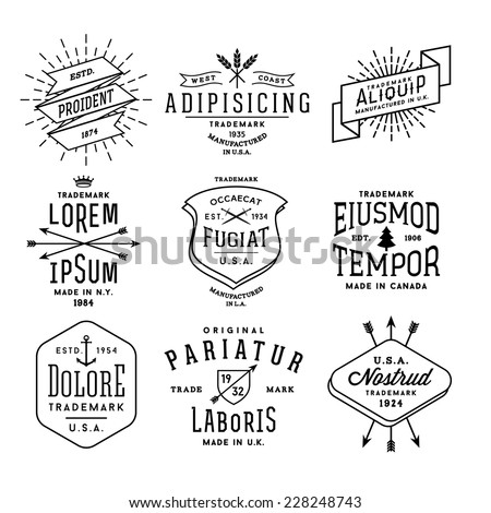 collection monochrome hipster vintage label, logo, badge for your business or t-shirt print with arrow, crown, sword, anchor, ribbon, fir tree