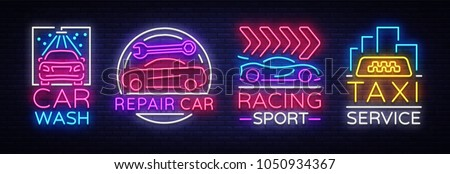 collection neon signs transport
