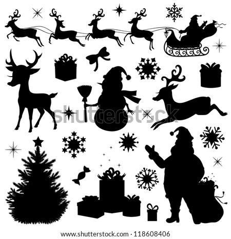 Collection Of A Christmas Silhouettes Stock Vector