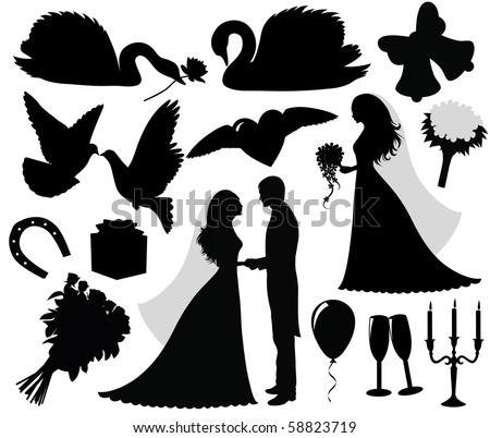 Stock Vector Collection Of A Wedding Silhouettes Program With Silhouette