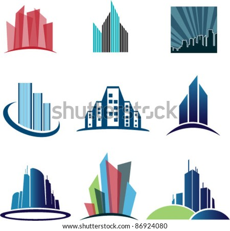 Collection Of Abstract architecture Vector Symbols Isolated On White Background. Graphic Design Editable For Your Design.