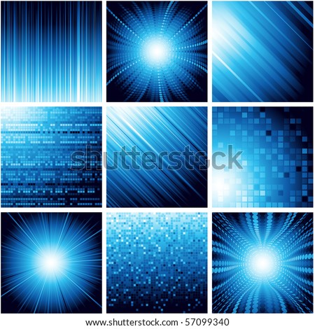 Collection of abstract backgrounds in blue color. Vector.