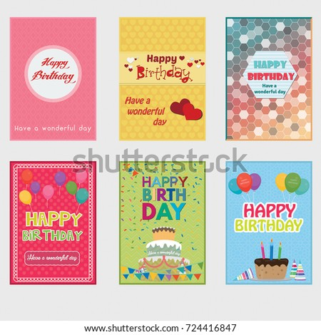 Collection of abstract colorful birthday card