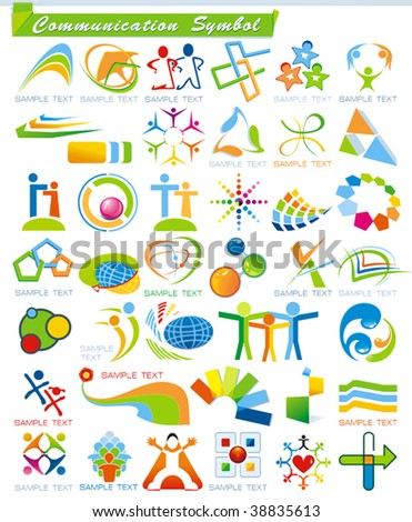 COLLECTION_4 of abstract Communication Symbols, vector business web icons. Set of colorful trade marks for your company or site