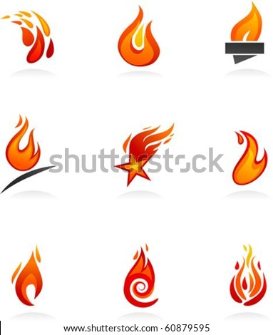 Collection of abstract fire icons