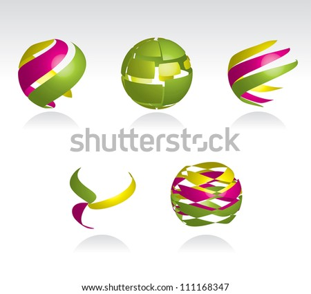 Collection of abstract spheres made from colorful stripes, vector eps10