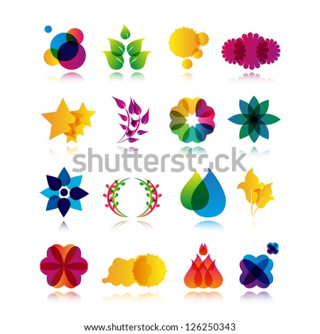 Collection Of Abstract Symbols Isolated On White Background - Vector Illustration, Graphic Design Editable For Your Design. Logo Flat Symbols