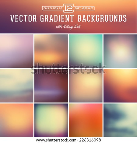 collection of 12 abstract vector gradient backgrounds with vintage feel