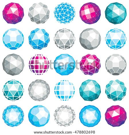 Collection of abstract vector low poly objects with lines and dots connected. Set of futuristic balls with overlapping lines mesh and geometric figures. 3d shapes can be used in technical modeling.