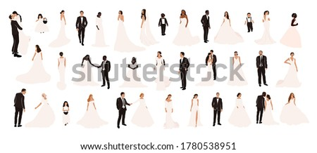 Collection of abstract wedding couple grooms and brides in various pose isolated. Multiracial african american european fiancee bridegroom marriage people vector illustration in cartoon flat style Photo stock ©