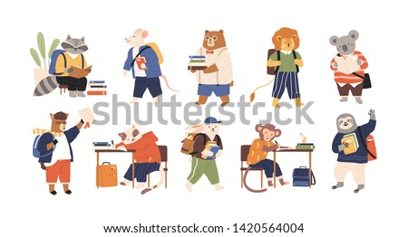 Collection of adorable animals students or pupils studying, writing, reading books. Back to school set. Funny cartoon characters isolated on white background. Flat childish vector illustration.