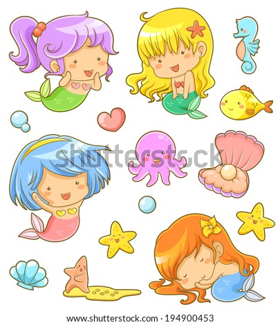 collection of adorable mermaids