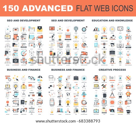 Collection of advanced flat web icons. Icon pack includes - SEO and development, education and knowledge, business and finance, creative process conceptual themes.
