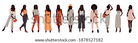 Collection of afro stylish women dressed in trendy clothes. Set of fashionable casual and formal outfits. Flat cartoon colorful vector illustration. Foto stock ©