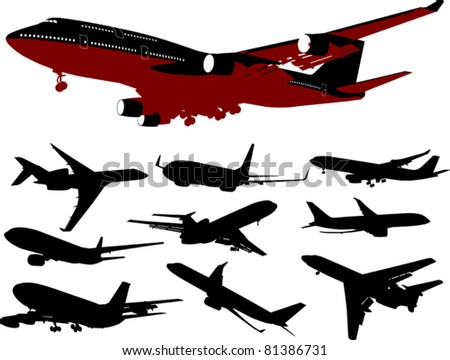 collection of aircraft of various models  (vector illustration);