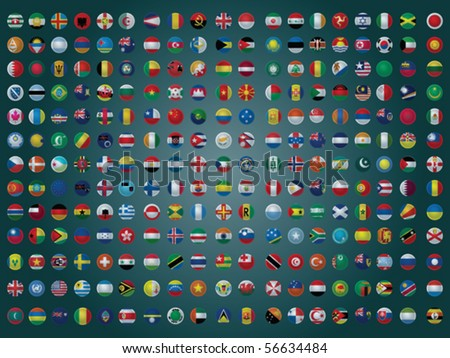 Collection of All The Flags of the Earth Vector Illustration