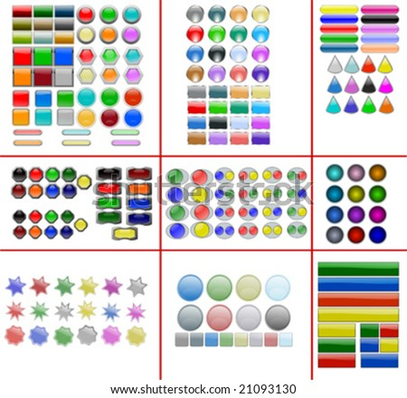 Collection of all vector web buttons and shapes