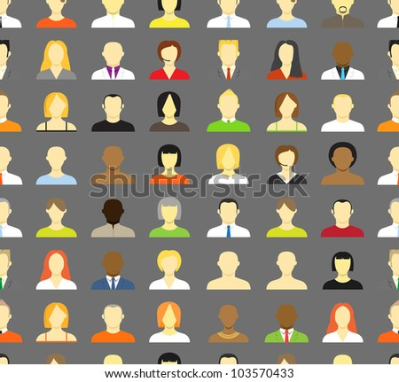 Collection of an account icons of men and women. Seamless background