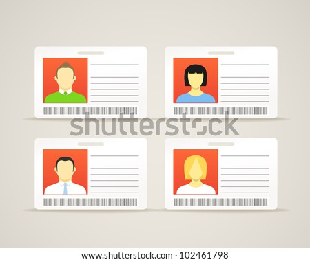 Collection of an id cards with the cute persons