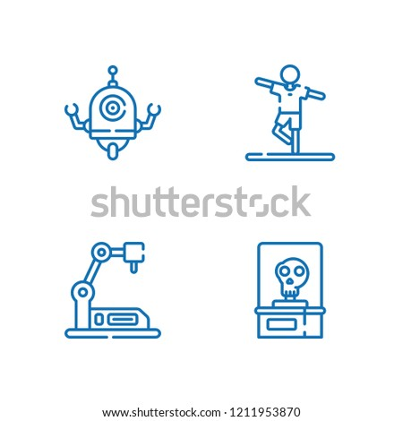 Collection of 4 arm outline icons include icons such as skeleton, industrial robot, robot
