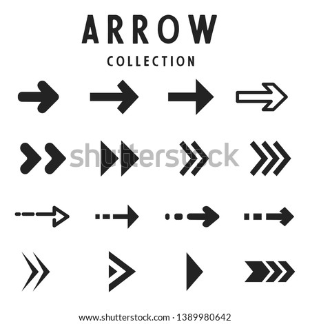 Collection of arrows and icon symbols. Vector illustration isolated on white background.Flat arrow icons set, modern design elements collection. #1389980642