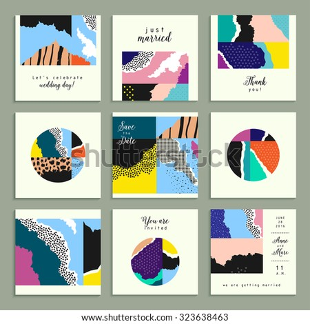 Collection of artistic cards with abstract shapes and hand made textures. Wedding, marriage, bridal, birthday, Valentine's day. Creative unusual posters. Isolated