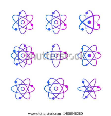 Collection of atomic orbitales on white background