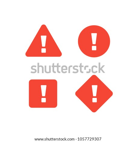 Collection of attention signs isolated on white background. Shapes (triangle, square, circle, rhombus) with exclamation point. Design with attention icon for banner, posteror signboard. Danger warning