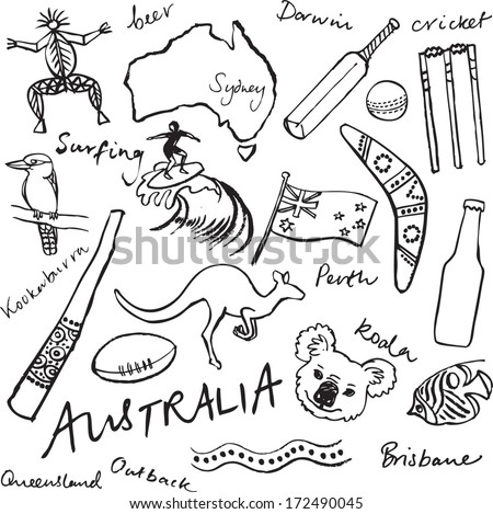 Collection of Australia doodle vector illustrations