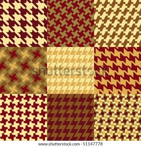 Collection of authentic houndstooth patterns. Each 3-inch seamless pattern is on a separate layer, as well as in the Swatches Palette.