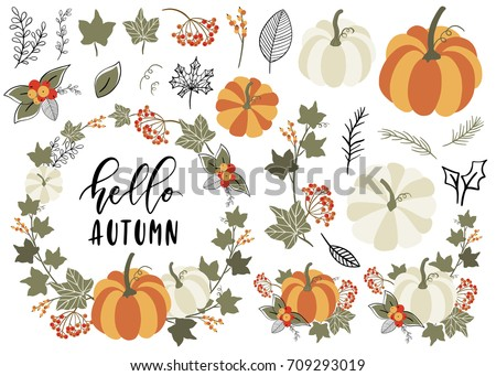 Collection of Autumn and Fall elements. Clip art with Pumpkin, leaf, wreath, branch, berry. Vector illustration.