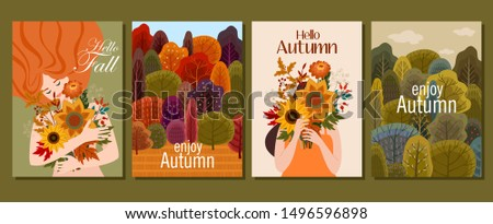 Collection of autumn cards. Vector illustration. Beautiful template. Can be used for banner, poster, card, postcard and print.