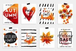 Collection of autumn sale and other typography flyer template with lettering. Bright fall leaves. Poster, card, label, banner design set. Vector illustration EPS10