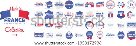 Collection of badge logotype 'Made in France' with ribbon and flag on white background, For art template design, page, mockup brochure style, banner, idea, cover, booklet, print, flyer, book, card Stock photo ©