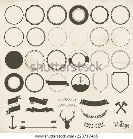 Collection of badges labels, vector vintage design