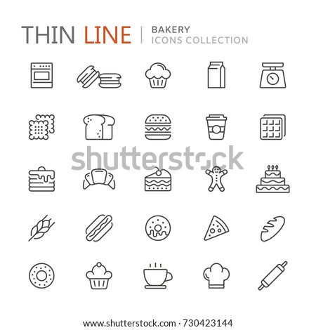 Collection of bakery thin line icons