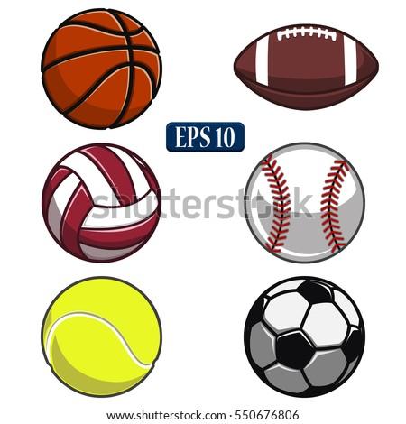 collection of balls,sports balls, vector ball,white background,volleyball,basketball,tennis,American football,baseball,soccer