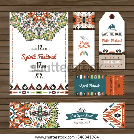 Collection of banners, flyers or invitations with geometric elements. Flyer design in bohemian style